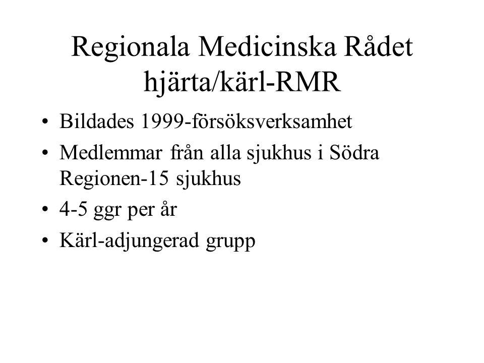 Regionala Medicinska Rådet hjärta/kärl-RMR Bildades 1999-försöksverksamhet Medlemmar från alla sjukhus i Södra Regionen-15 sjukhus 4-5 ggr per år Kärl