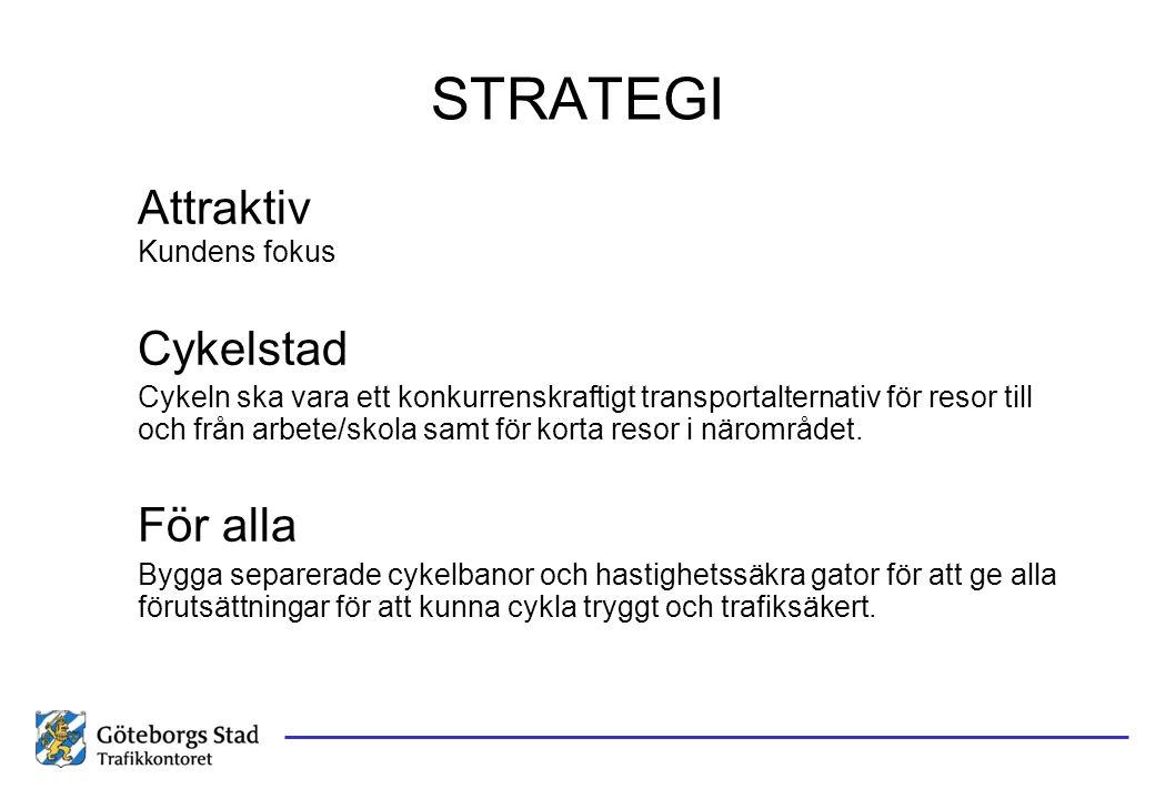 STRATEGI Attraktiv Kundens fokus Cykelstad Cykeln ska vara ett konkurrenskraftigt transportalternativ för resor till och från arbete/skola samt för ko
