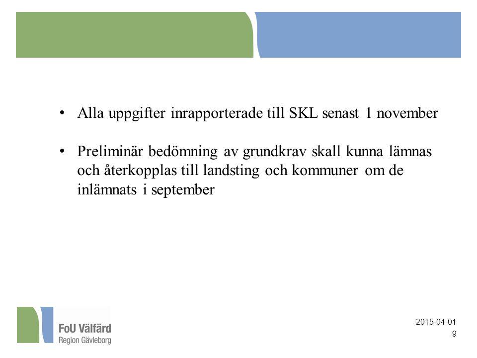 9 Alla uppgifter inrapporterade till SKL senast 1 november Preliminär bedömning av grundkrav skall kunna lämnas och återkopplas till landsting och kommuner om de inlämnats i september