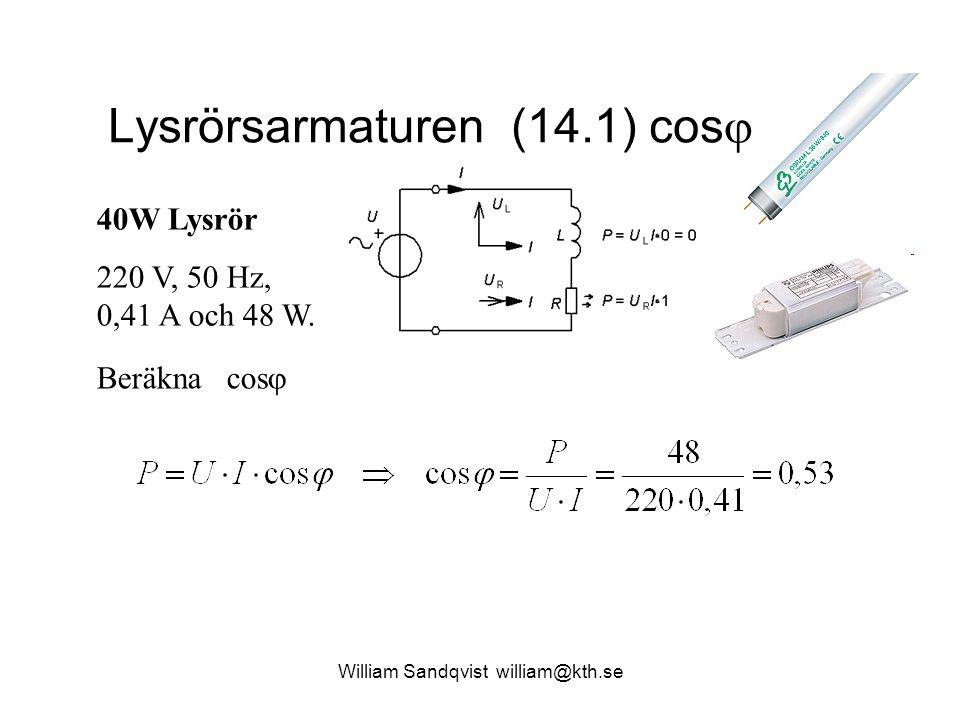 William Sandqvist william@kth.se Lysrörsarmaturen (14.1) cos  40W Lysrör 220 V, 50 Hz, 0,41 A och 48 W. Beräkna cos 