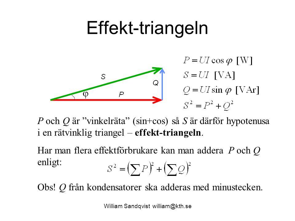 """William Sandqvist william@kth.se Effekt-triangeln P och Q är """"vinkelräta"""" (sin+cos) så S är därför hypotenusa i en rätvinklig triangel – effekt-triang"""