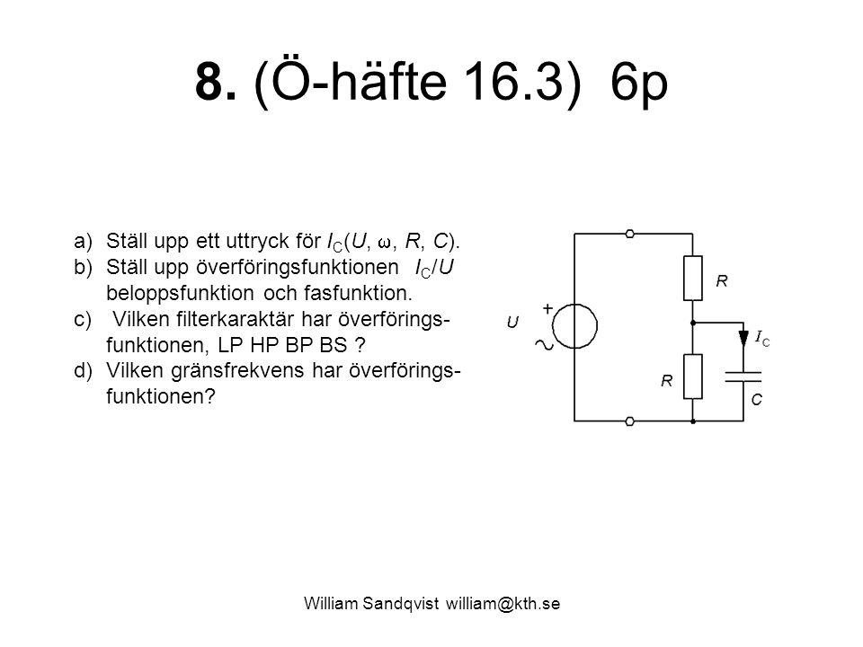 William Sandqvist william@kth.se 8. (Ö-häfte 16.3) 6p a)Ställ upp ett uttryck för I C (U, , R, C). b)Ställ upp överföringsfunktionen I C /U beloppsfu