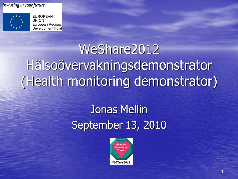 1 WeShare2012 Hälsoövervakningsdemonstrator (Health monitoring demonstrator) Jonas Mellin September 13, 2010