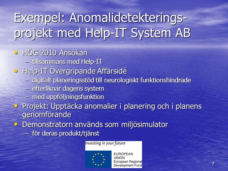 7 Exempel: Anomalidetekterings- projekt med Help-IT System AB HÖG 2010 Ansökan HÖG 2010 Ansökan –tillsammans med Help-IT Help-IT Övergripande Affärsidé Help-IT Övergripande Affärsidé –digitalt planeringsstöd till neurologiskt funktionshindrade –efterliknar dagens system –med uppföljningsfunktion Projekt: Upptäcka anomalier i planering och i planens genomförande Projekt: Upptäcka anomalier i planering och i planens genomförande Demonstratorn används som miljösimulator Demonstratorn används som miljösimulator –för deras produkt/tjänst