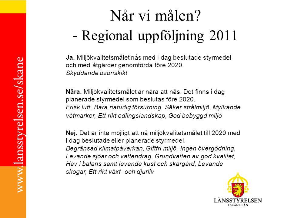 Når vi målen? - Regional uppföljning 2011 Ja. Miljökvalitetsmålet nås med i dag beslutade styrmedel och med åtgärder genomförda före 2020. Skyddande o