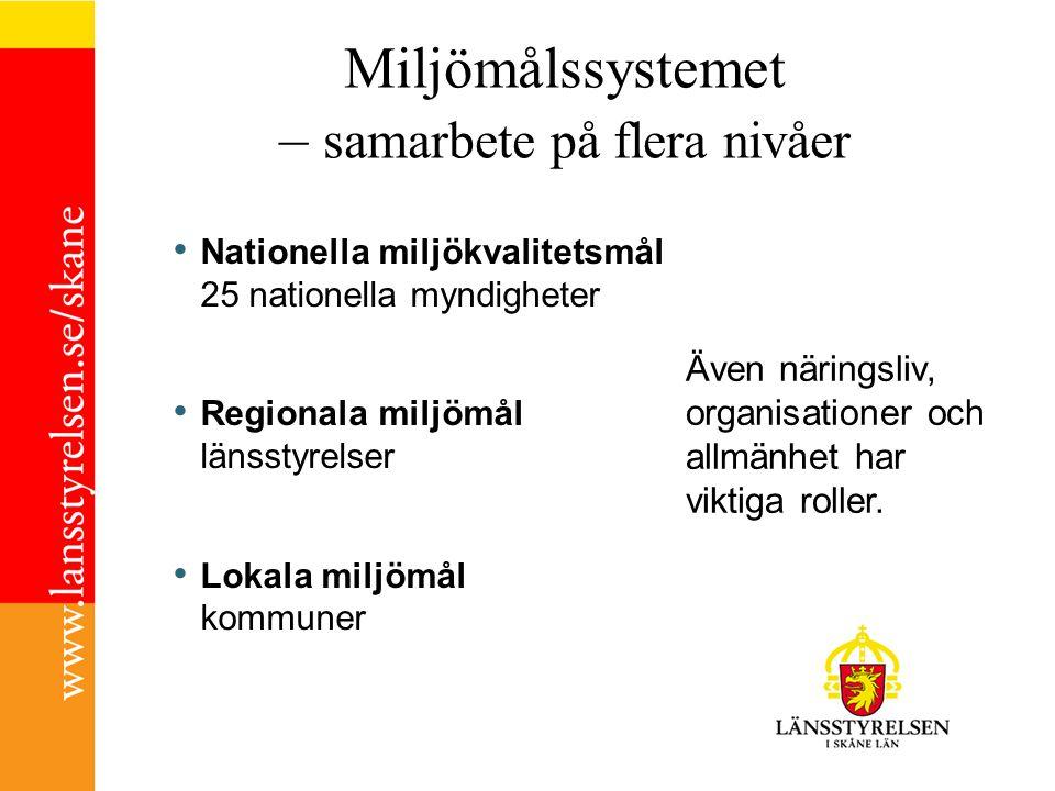 Regionalt åtgärdsprogram 1.Förbättra miljötillståndet i Skåne för att nå den kvalitet som uttrycks i miljökvalitetsmålen 2.Stimulera samverkan och utvecklingsinsatser hos aktörer för att bidra till en hållbar regional utveckling 3.Vägleda aktörer i Skåne i prioritering av miljöåtgärder 4.Stärka kommunernas arbete med lokala miljömål och åtgärder, och medverkan i och samspel med det regionala arbetet 5.Förtydliga Länsstyrelsens ansvar i det regionala arbetet med att nå miljökvalitetsmålen