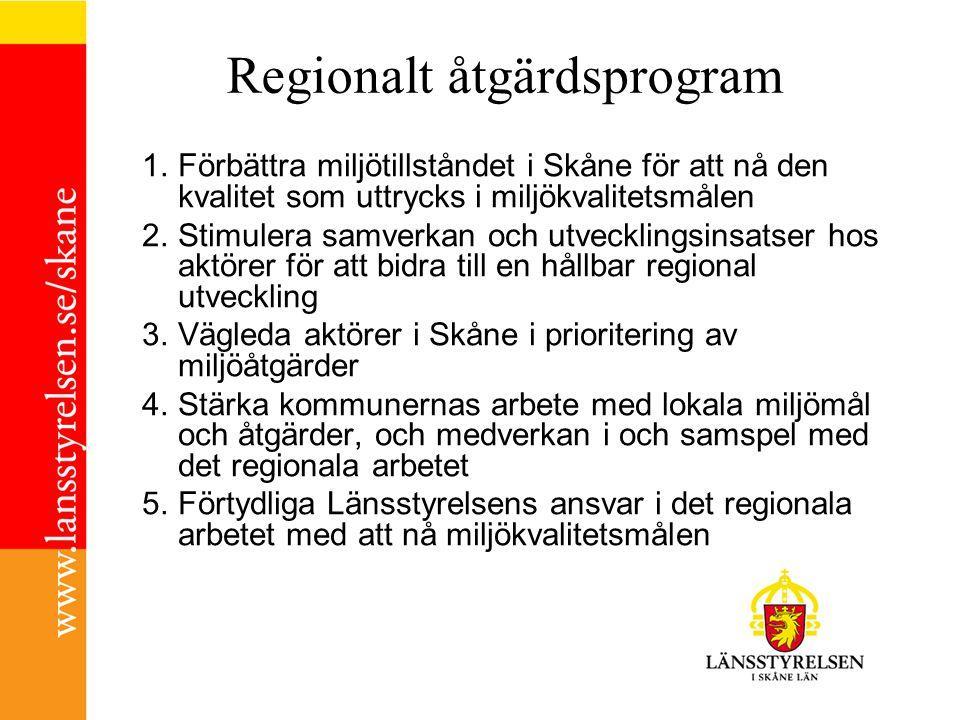 Förslag på regionalt åtgärdsprogram 5 Utmaningar och 76 åtgärder Hållbara transporter i Skåne (12) Hänsyn till Skånes hav, sjöar och vattendrag (17) Hushållning med Skånes mark - och vattenresurser (13) Skydd av Skånes natur- och kulturvärden (22) Hållbar konsumtion i Skåne (12) Huvudaktörer (antal åtgärder) Länsstyrelsen (36) Kommuner/KFSK (40) Region Skåne (10) Skogsstyrelsen (8) Trafikverket (8) Markägare (3) Verksamhetsutövare (10) SGU (2) Intresseorganisationer, Energibolag m fl