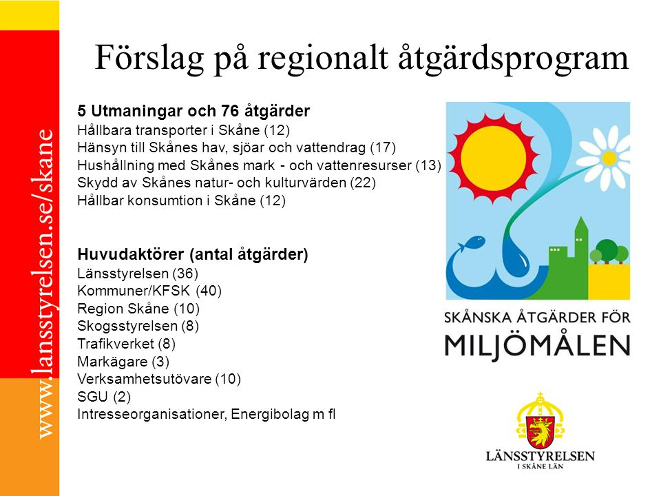 Förslag på regionalt åtgärdsprogram 5 Utmaningar och 76 åtgärder Hållbara transporter i Skåne (12) Hänsyn till Skånes hav, sjöar och vattendrag (17) H