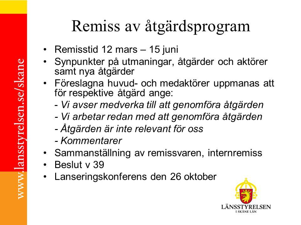 Remiss av åtgärdsprogram Remisstid 12 mars – 15 juni Synpunkter på utmaningar, åtgärder och aktörer samt nya åtgärder Föreslagna huvud- och medaktörer