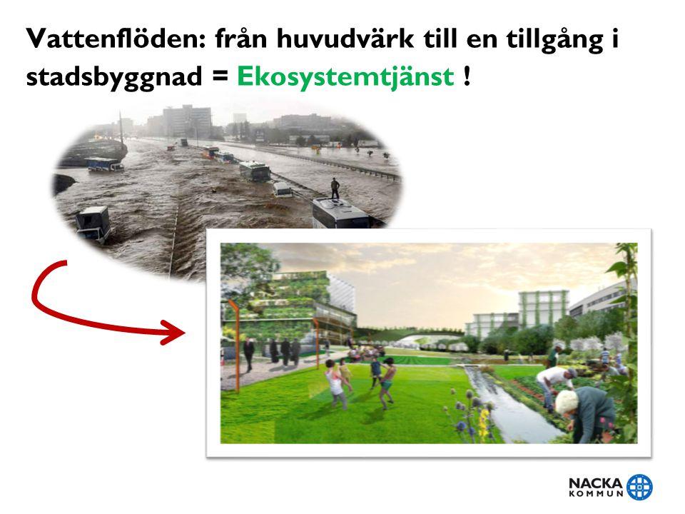 Vattenflöden: från huvudvärk till en tillgång i stadsbyggnad = Ekosystemtjänst !