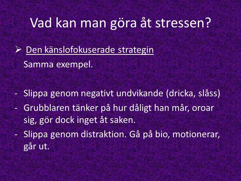 Vad kan man göra åt stressen?  Den känslofokuserade strategin Samma exempel. -Slippa genom negativt undvikande (dricka, slåss) -Grubblaren tänker på