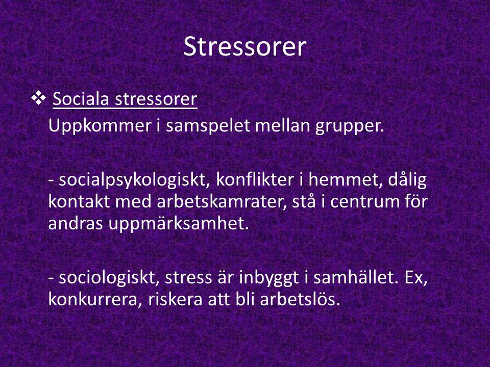 Stressorer  Sociala stressorer Uppkommer i samspelet mellan grupper. - socialpsykologiskt, konflikter i hemmet, dålig kontakt med arbetskamrater, stå