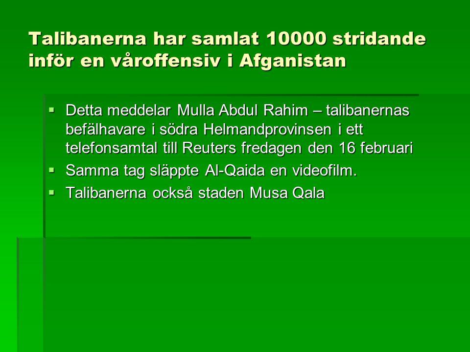 Talibanerna har samlat 10000 stridande inför en våroffensiv i Afganistan  Detta meddelar Mulla Abdul Rahim – talibanernas befälhavare i södra Helmandprovinsen i ett telefonsamtal till Reuters fredagen den 16 februari  Samma tag släppte Al-Qaida en videofilm.