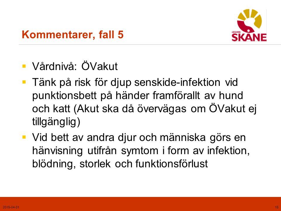 2015-04-0116 Tillämpligt kapitel i handboken, fall 6  Symtom från armar/ben efter trauma  Kapitel 2, Rörelseapparaten, s.