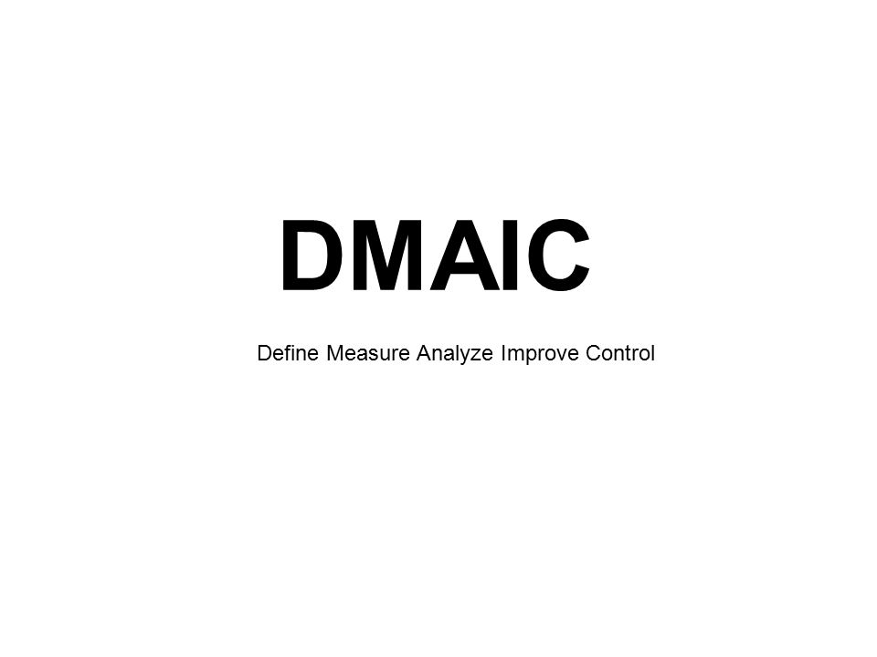 DMAIC Define Measure Analyze Improve Control