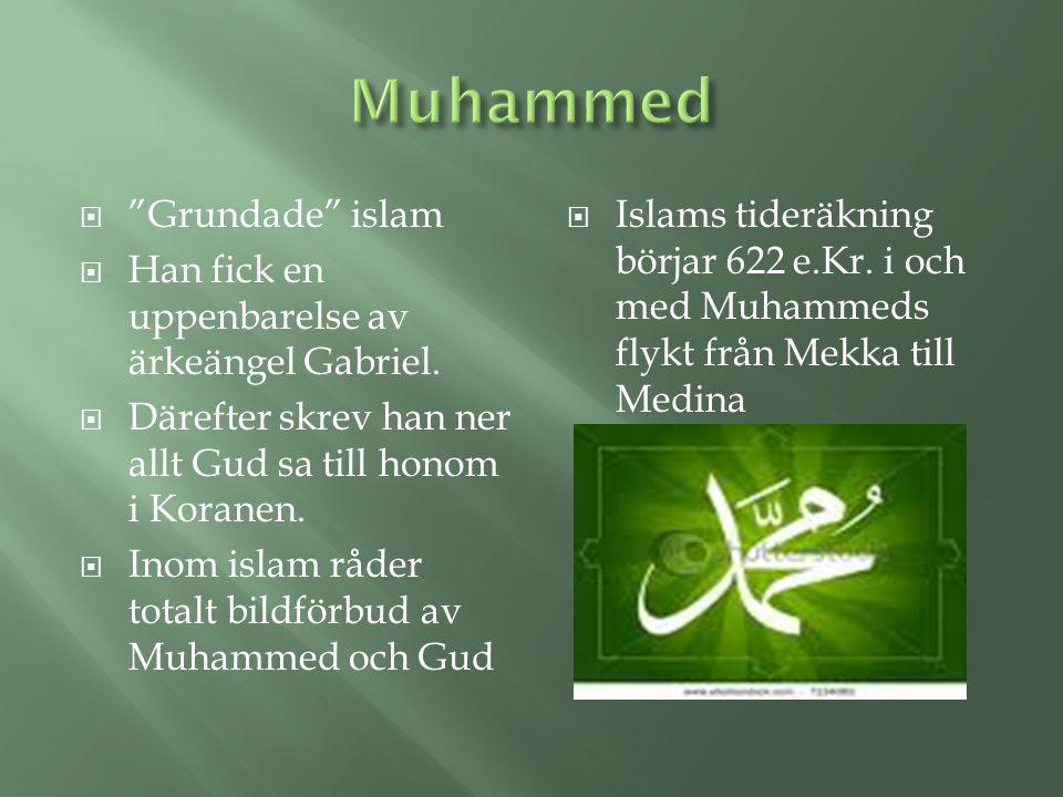 """ """"Grundade"""" islam  Han fick en uppenbarelse av ärkeängel Gabriel.  Därefter skrev han ner allt Gud sa till honom i Koranen.  Inom islam råder tota"""