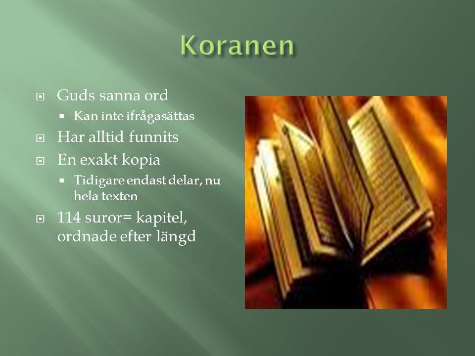  Guds sanna ord  Kan inte ifrågasättas  Har alltid funnits  En exakt kopia  Tidigare endast delar, nu hela texten  114 suror= kapitel, ordnade e