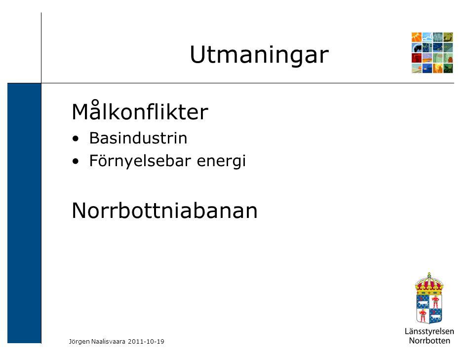 2009-06-04 Kerstin Lundin-Segerlund Målkonflikter Basindustrin Förnyelsebar energi Norrbottniabanan Utmaningar Jörgen Naalisvaara 2011-10-19