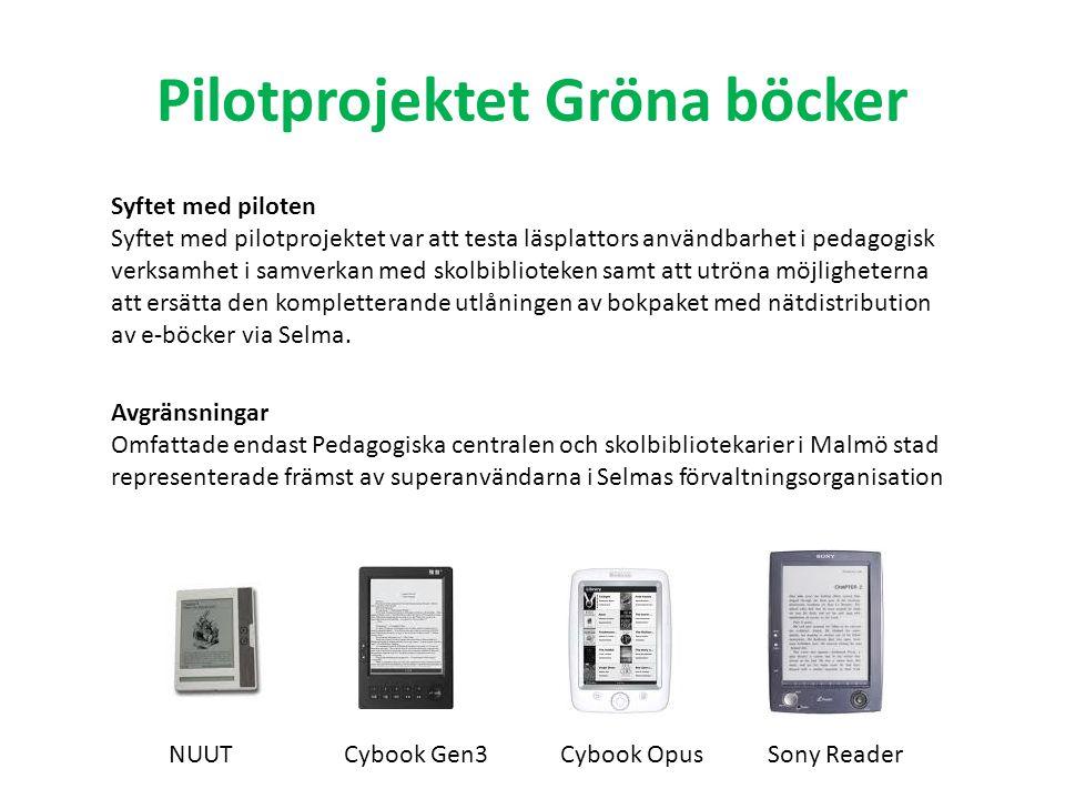 Pilotprojektet Gröna böcker Syftet med piloten Syftet med pilotprojektet var att testa läsplattors användbarhet i pedagogisk verksamhet i samverkan me