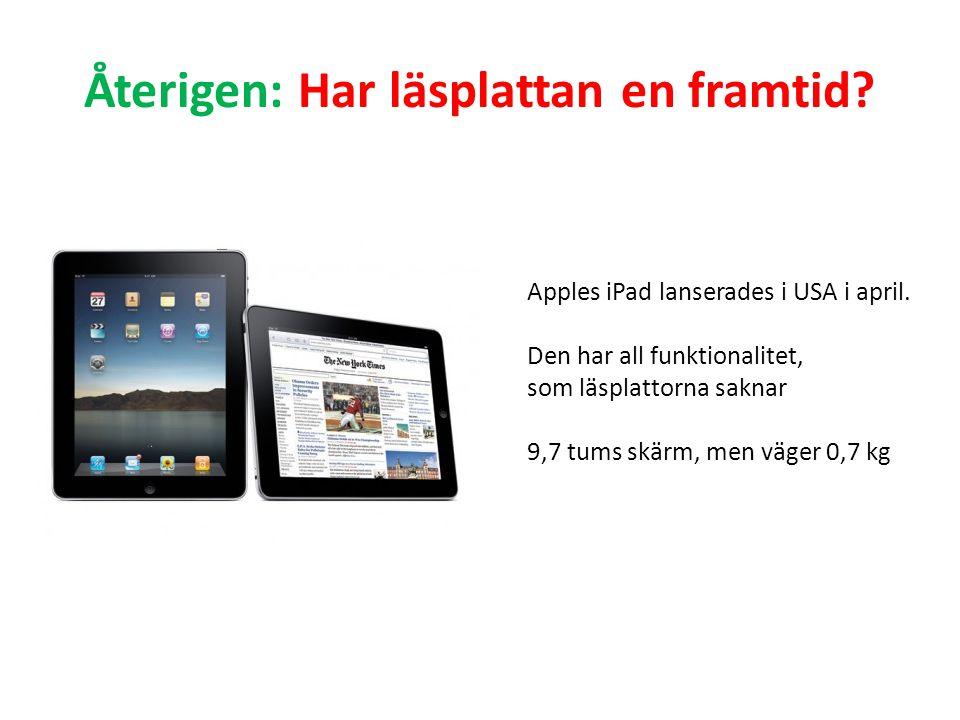Återigen: Har läsplattan en framtid? Apples iPad lanserades i USA i april. Den har all funktionalitet, som läsplattorna saknar 9,7 tums skärm, men väg