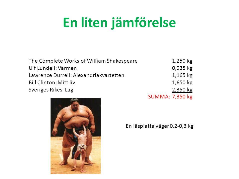 En liten jämförelse The Complete Works of William Shakespeare1,250 kg Ulf Lundell: Värmen0,935 kg Lawrence Durrell: Alexandriakvartetten1,165 kg Bill