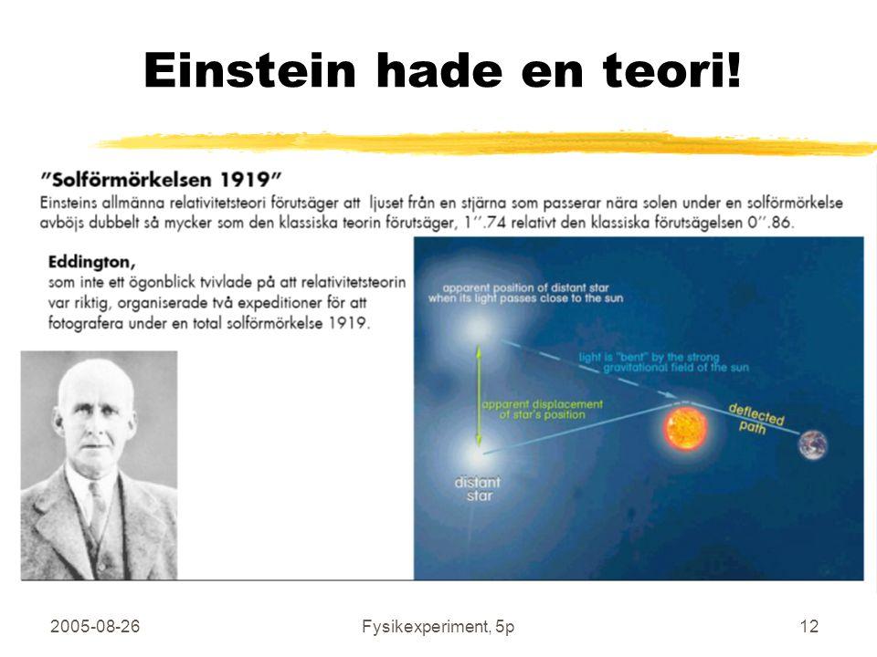 2005-08-26Fysikexperiment, 5p12 Einstein hade en teori!