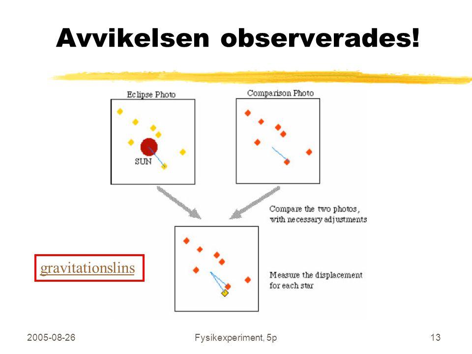 2005-08-26Fysikexperiment, 5p13 Avvikelsen observerades! gravitationslins