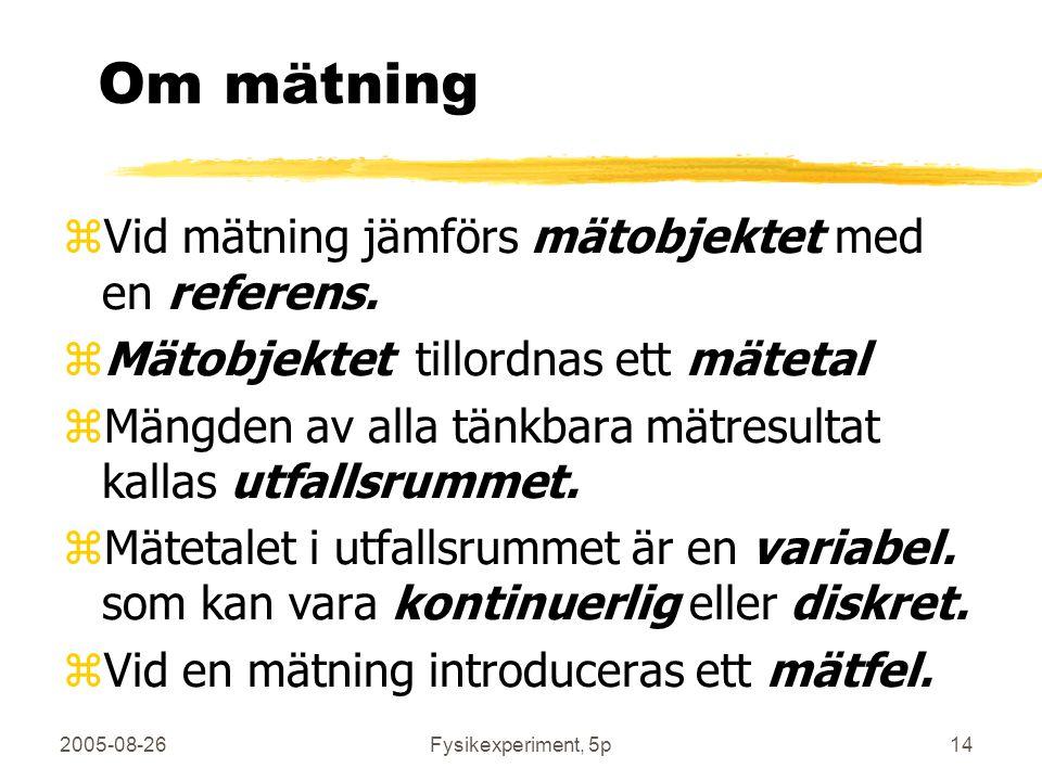 2005-08-26Fysikexperiment, 5p14 Om mätning zVid mätning jämförs mätobjektet med en referens. zMätobjektet tillordnas ett mätetal zMängden av alla tänk