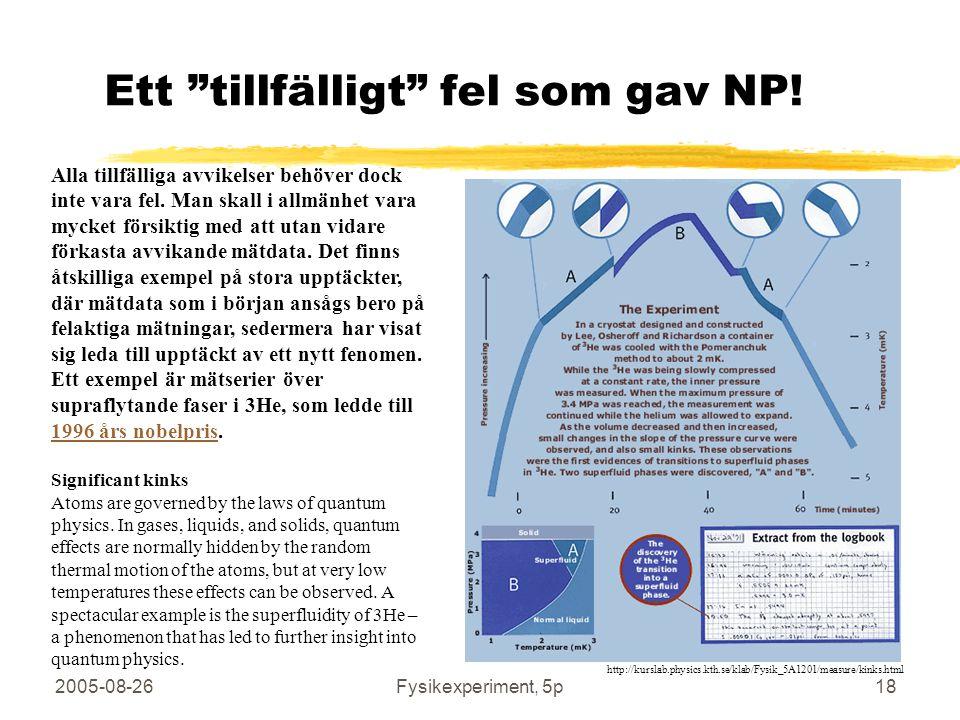 """2005-08-26Fysikexperiment, 5p18 Ett """"tillfälligt"""" fel som gav NP! Alla tillfälliga avvikelser behöver dock inte vara fel. Man skall i allmänhet vara m"""