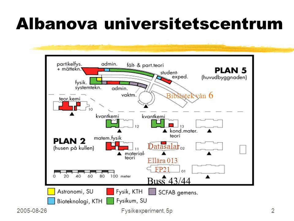2005-08-26Fysikexperiment, 5p3 Albanova universitetscentrum Lektionssal FB42 Demosalar FB43/44 Här finns jag