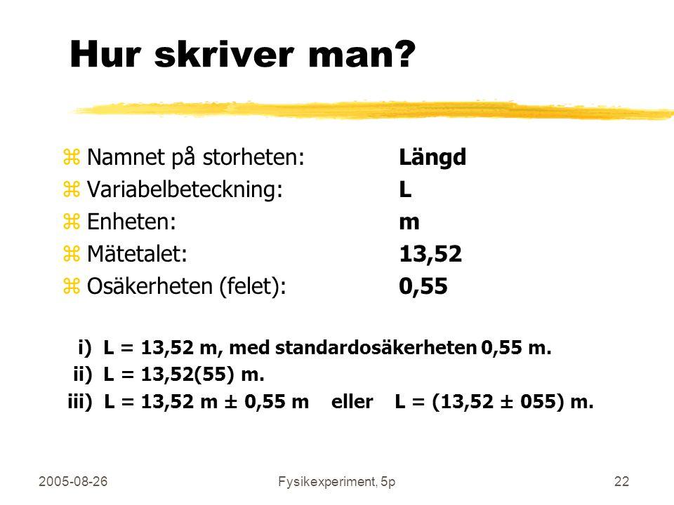 2005-08-26Fysikexperiment, 5p22 Hur skriver man? zNamnet på storheten: Längd zVariabelbeteckning:L zEnheten:m zMätetalet:13,52 zOsäkerheten (felet):0,