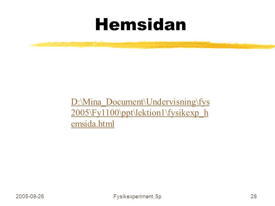 2005-08-26Fysikexperiment, 5p28 D:\Mina_Document\Undervisning\fys 2005\Fy1100\ppt\lektion1\fysikexp_h emsida.html Hemsidan