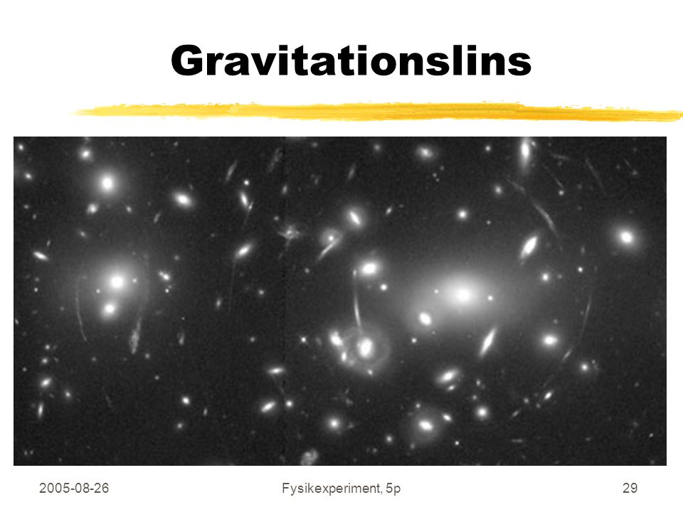 2005-08-26Fysikexperiment, 5p29 Gravitationslins