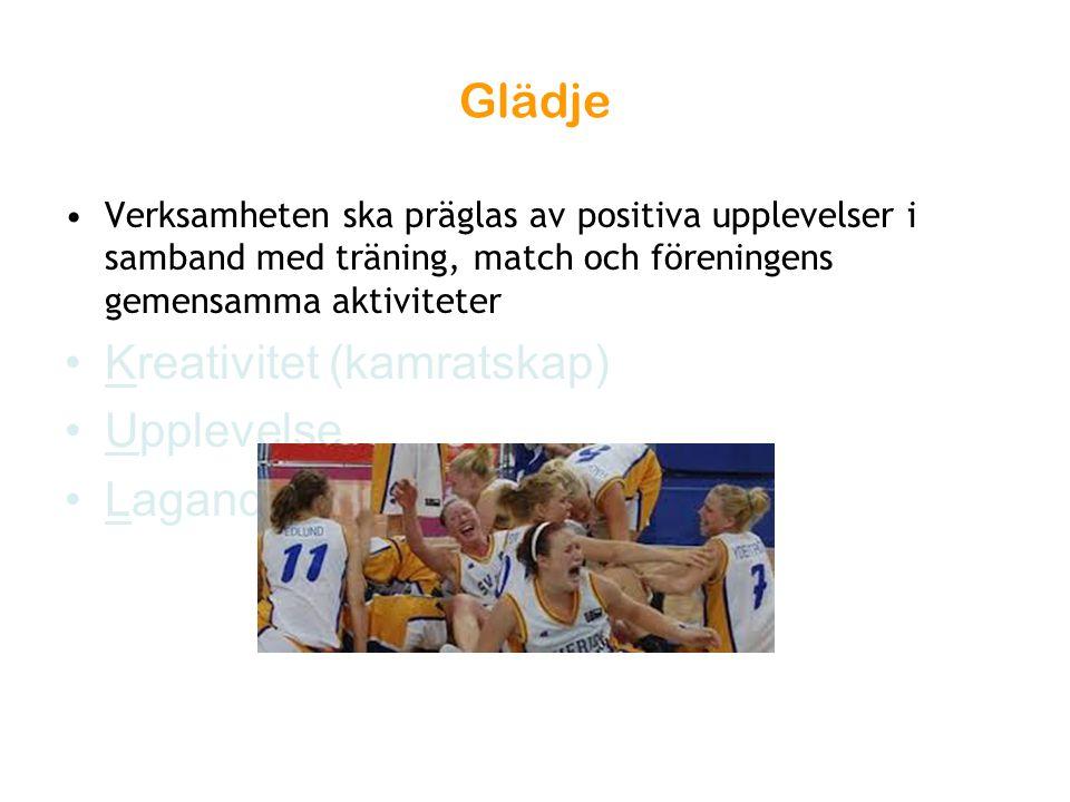 Glädje Verksamheten ska präglas av positiva upplevelser i samband med träning, match och föreningens gemensamma aktiviteter Kreativitet (kamratskap) U