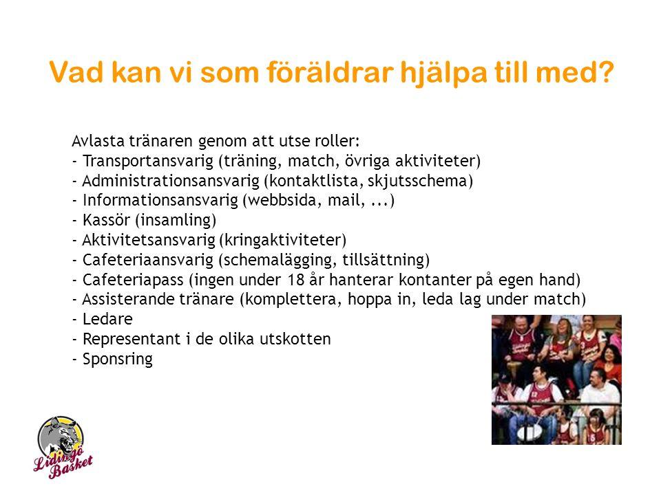 Vad kan vi som föräldrar hjälpa till med? Avlasta tränaren genom att utse roller: - Transportansvarig (träning, match, övriga aktiviteter) - Administr