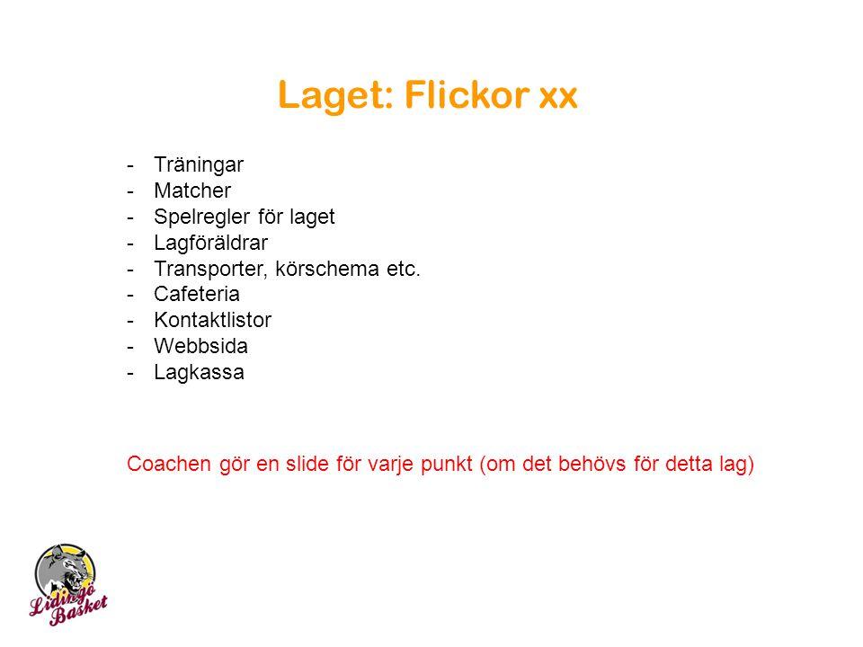 Laget: Flickor xx -Träningar -Matcher -Spelregler för laget -Lagföräldrar -Transporter, körschema etc. -Cafeteria -Kontaktlistor -Webbsida -Lagkassa C