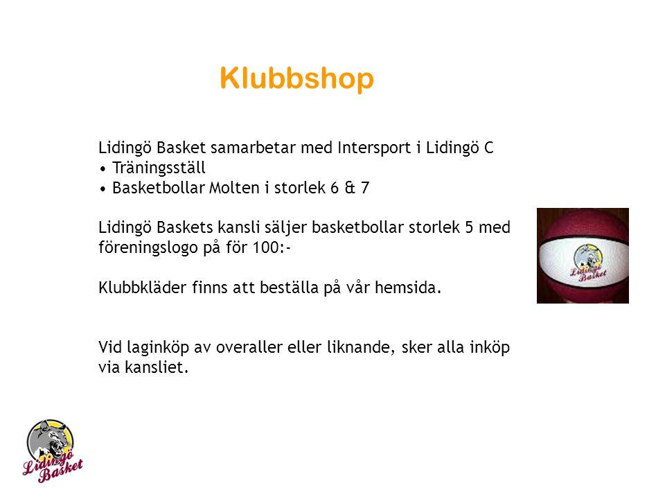 Klubbshop Lidingö Basket samarbetar med Intersport i Lidingö C Träningsställ Basketbollar Molten i storlek 6 & 7 Lidingö Baskets kansli säljer basketbollar storlek 5 med föreningslogo på för 100:- Klubbkläder finns att beställa på vår hemsida.