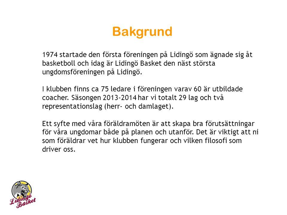 Bakgrund 1974 startade den första föreningen på Lidingö som ägnade sig åt basketboll och idag är Lidingö Basket den näst största ungdomsföreningen på Lidingö.