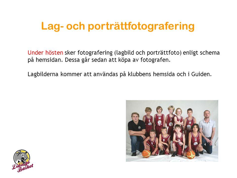 Lag- och porträttfotografering Under hösten sker fotografering (lagbild och porträttfoto) enligt schema på hemsidan. Dessa går sedan att köpa av fotog