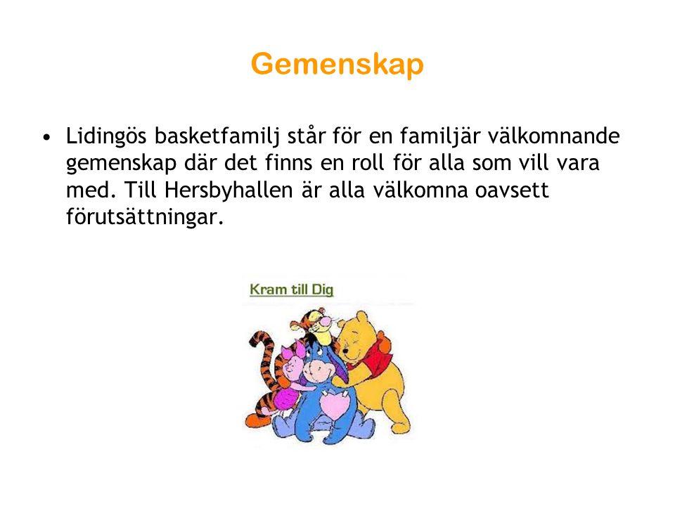 Gemenskap Lidingös basketfamilj står för en familjär välkomnande gemenskap där det finns en roll för alla som vill vara med. Till Hersbyhallen är alla