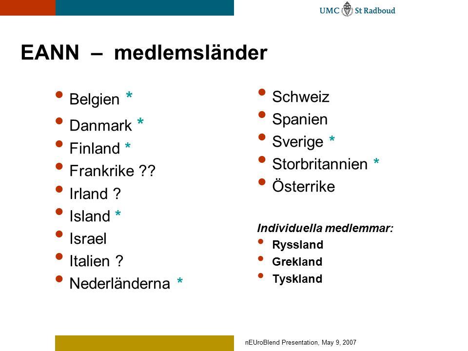nEUroBlend Presentation, May 9, 2007 NeuroBlend Curriculum development for neuroscience nurses Utmaningar Olika lagar och riktlinjer, utbildningssystem och kulturer Europeiska huvudområden inom neurovård: Akut neurovård, neurorehabilitiering, neuropalliativ vård Europeisk kompetensbaserad bas Europeisk kompetensprofil, Europeisk läroplan, olika metoder för undervisning och lärande Samarbete som lösning på ett gemensamt EU-problem