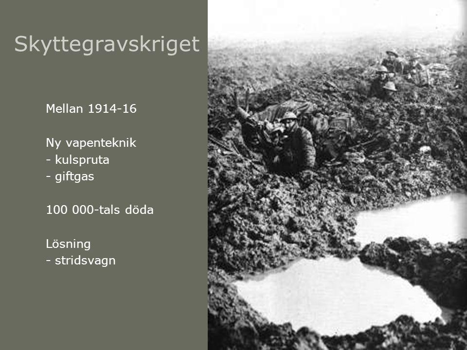 Skyttegravskriget Mellan 1914-16 Ny vapenteknik - kulspruta - giftgas 100 000-tals döda Lösning - stridsvagn