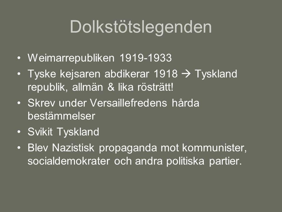 Dolkstötslegenden Weimarrepubliken 1919-1933 Tyske kejsaren abdikerar 1918  Tyskland republik, allmän & lika rösträtt! Skrev under Versaillefredens h