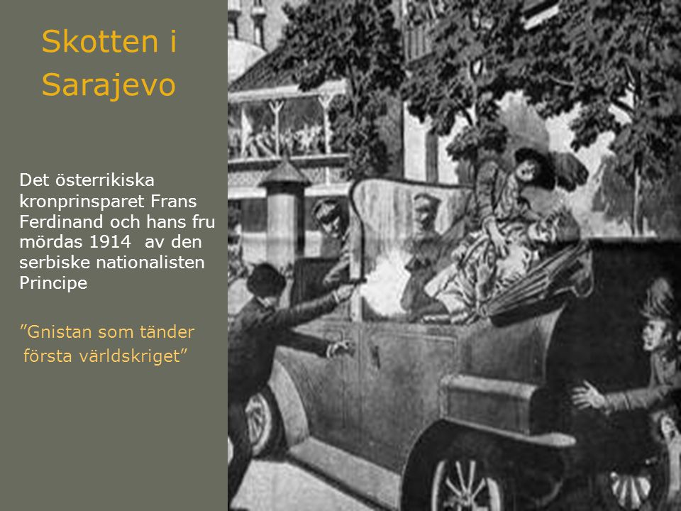 Skotten i Sarajevo Det österrikiska kronprinsparet Frans Ferdinand och hans fru mördas 1914 av den serbiske nationalisten Principe Gnistan som tänder första världskriget