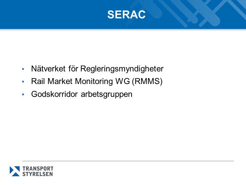 SERAC Nätverket för Regleringsmyndigheter Rail Market Monitoring WG (RMMS) Godskorridor arbetsgruppen