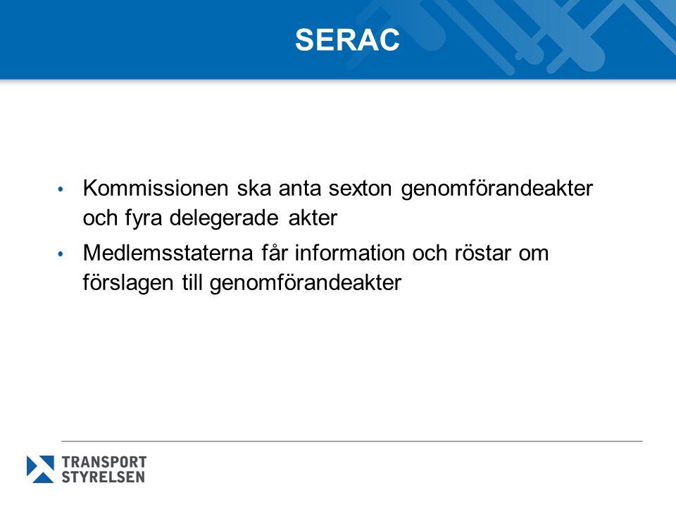 SERAC Kommissionen ska anta sexton genomförandeakter och fyra delegerade akter Medlemsstaterna får information och röstar om förslagen till genomförandeakter