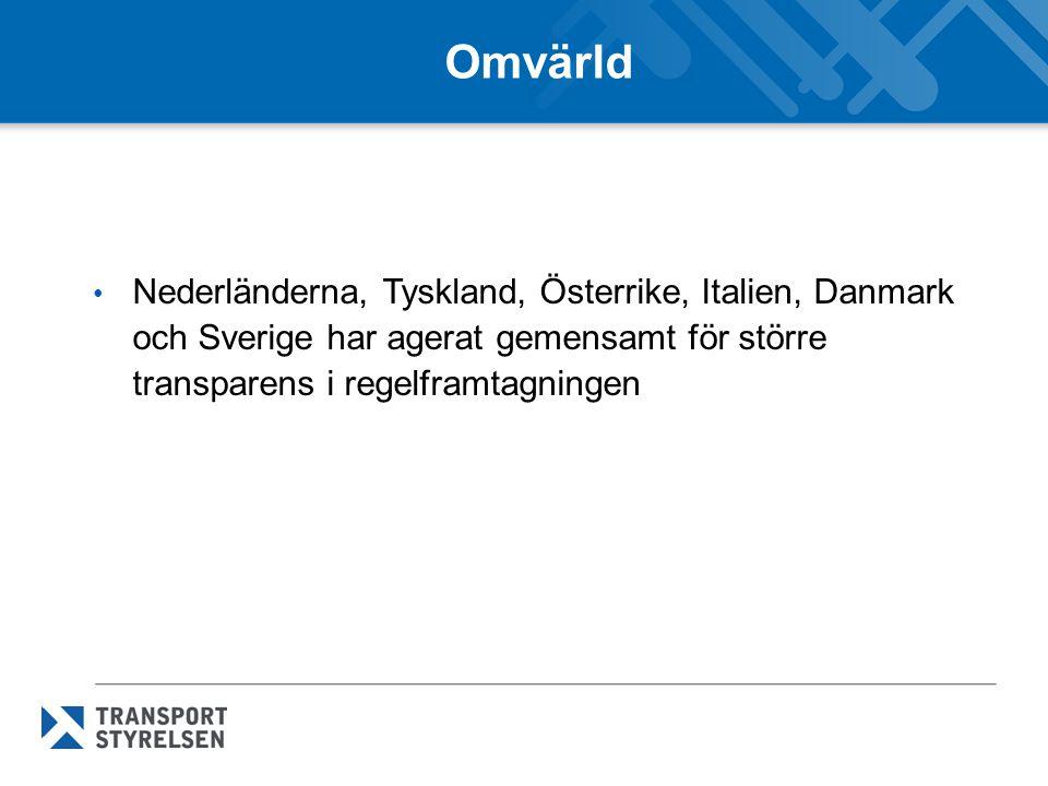 Omvärld Nederländerna, Tyskland, Österrike, Italien, Danmark och Sverige har agerat gemensamt för större transparens i regelframtagningen