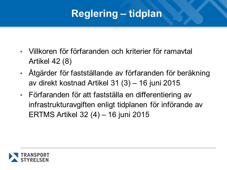 Reglering – tidplan Villkoren för förfaranden och kriterier för ramavtal Artikel 42 (8) Åtgärder för fastställande av förfaranden för beräkning av direkt kostnad Artikel 31 (3) – 16 juni 2015 Förfaranden för att fastställa en differentiering av infrastrukturavgiften enligt tidplanen för införande av ERTMS Artikel 32 (4) – 16 juni 2015