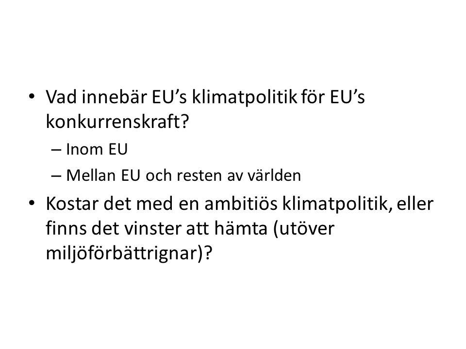 Vad innebär EU's klimatpolitik för EU's konkurrenskraft.