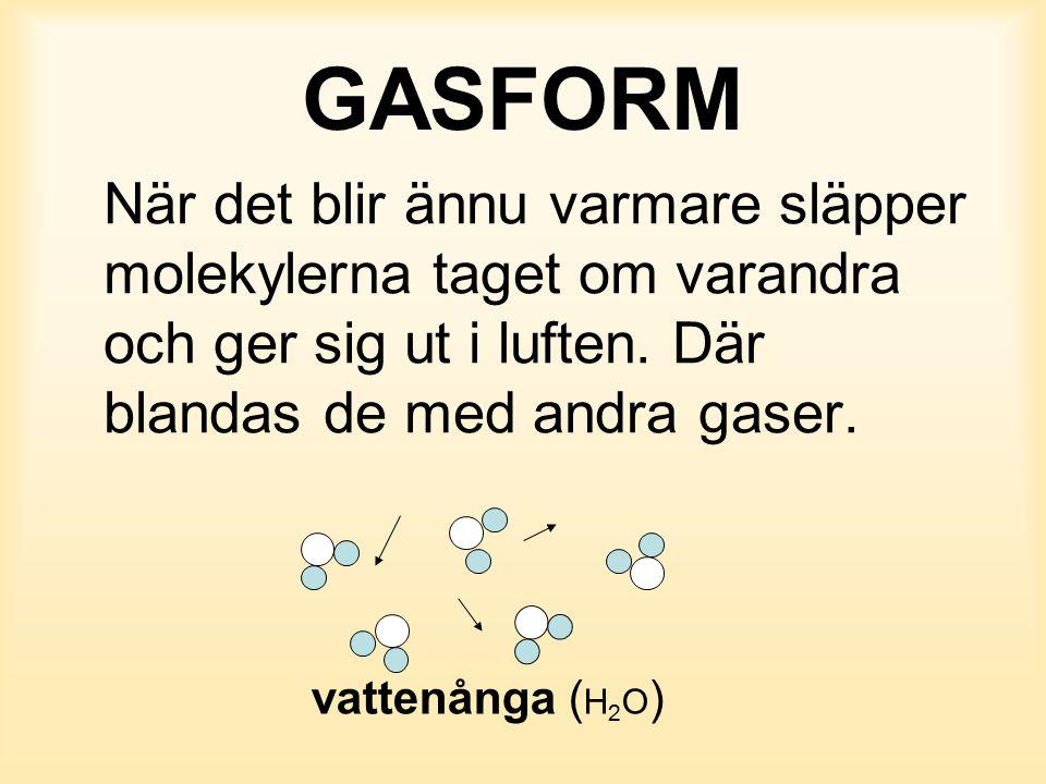GASFORM När det blir ännu varmare släpper molekylerna taget om varandra och ger sig ut i luften. Där blandas de med andra gaser. vattenånga ( H 2 O )